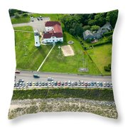 Cars Line Up At The Parking Lot At Chatham Lighthouse And Chatha Throw Pillow
