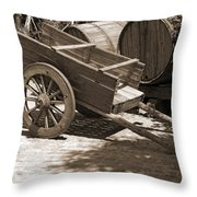 Cart And Wine Barrels In Italy Throw Pillow