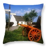 Cart On The Roadside Of A Village, The Throw Pillow