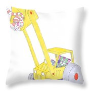 Cartoon Digger And Cats Throw Pillow