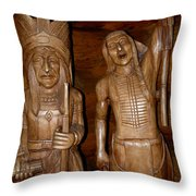 Carved American Indians Throw Pillow