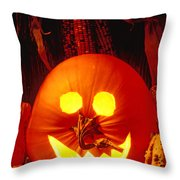 Carved Pumpkin With Fall Leaves Throw Pillow