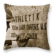 Carving The Name Of Jesse Owens Into The Champions Plinth At The 1936 Summer Olympics In Berlin Throw Pillow by American School