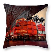 Casino Fremont Street Las Vegas Throw Pillow by Susanne Van Hulst