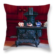 Cast Iron Stove With Teapots Throw Pillow