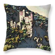 Castle Above The Rhine In Germany Throw Pillow