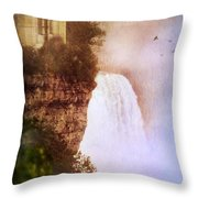 Castle At The Edge Of The Falls Throw Pillow