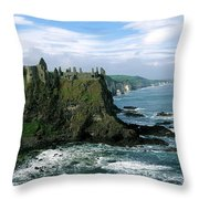 Castle At The Seaside, Dunluce Castle Throw Pillow