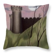 Castle By Moonlight Throw Pillow