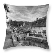 Castle Combe England Monochrome Throw Pillow