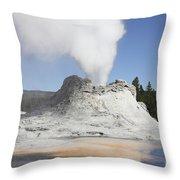 Castle Geyser Steam Phase, Upper Geyser Throw Pillow