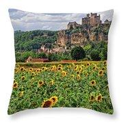 Castle In Dordogne Region France Throw Pillow