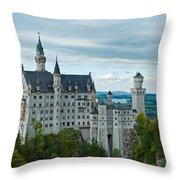 Castle Neuschwanstein With Surrounding Landscape Throw Pillow