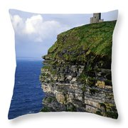 Castle On A Cliff, Obriens Tower Throw Pillow by The Irish Image Collection
