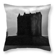 Castle Stalker Dusk Silhouette Throw Pillow