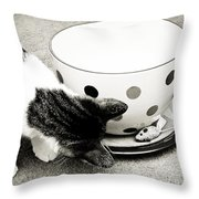 Cat And Mouse Coffee Throw Pillow