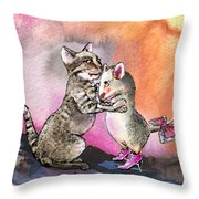 Cat And Mouse Reunited Throw Pillow