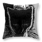 Cat Coming In Throw Pillow