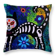 Cat Day Of The Dead Throw Pillow