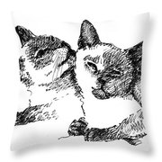 Cat-drawings-siamese-2 Throw Pillow