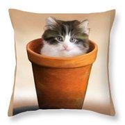 Cat In A Pot Throw Pillow