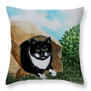 Cat In The Bag Throw Pillow
