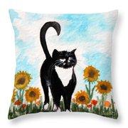 Cat Walk Through The Sunflowers Throw Pillow