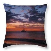 Catamarans  At Sunset Throw Pillow