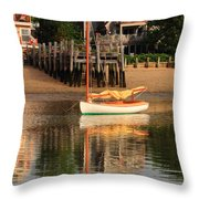 Catboat And Rippled Water Reflections Throw Pillow