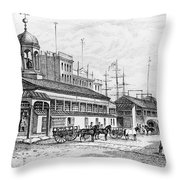 Catharine Market, 1850 Throw Pillow