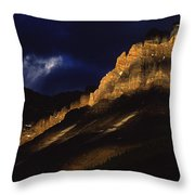 Cathedral Crags At Dusk, Yoho National Throw Pillow