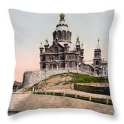 Cathedral In Helsinki Finland - Ca 1900 Throw Pillow