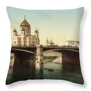 Cathedral Of Christ The Saviour - Moscow Russia Throw Pillow