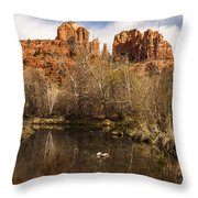 Cathedral Rock Reflections Portrait 1 Throw Pillow by Darcy Michaelchuk