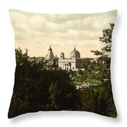 Catholic Church In Kiev - Ukraine - Ca 1900 Throw Pillow