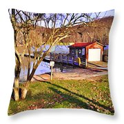 Catoctin Lake Boathouse Throw Pillow