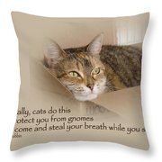 Cats Protecting You From Gnomes - Lily The Cat Throw Pillow