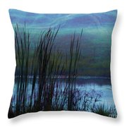 Cattails In Mist Throw Pillow