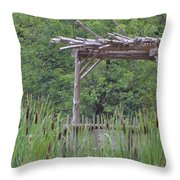 Cattails In The Garden Throw Pillow