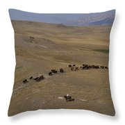 Cattle Drive In Montana Throw Pillow