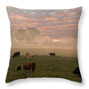 Cattle In The Fog Throw Pillow