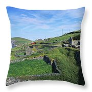 Cattle On The Road, Slea Head, Dingle Throw Pillow