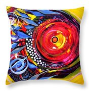 Cautionary Carnival Fish Throw Pillow