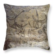 Cave Art - Mammoth And Ibexes Throw Pillow