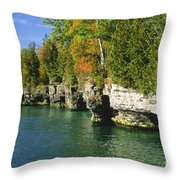Cave Point Cove Throw Pillow