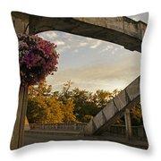 Caveman Bridge Arch And Flowers Throw Pillow