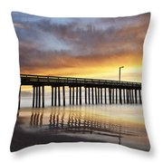 Cayucos Pier Reflected Throw Pillow