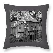 Cedar Creek Grist Mill Bw Throw Pillow