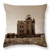 Cedar Island Lighthouse Throw Pillow