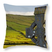 Celtic Cross In A Cemetery Throw Pillow